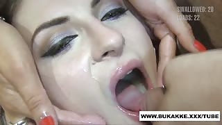 Pink Hair Slut Mouth Filled With Cum